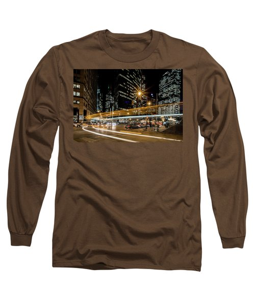 Chicago Nighttime Time Exposure Long Sleeve T-Shirt