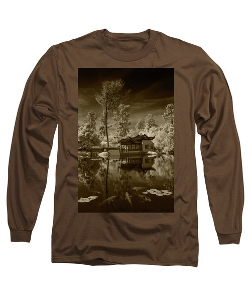 Long Sleeve T-Shirt featuring the photograph Chinese Botanical Garden In California With Koi Fish In Sepia Tone by Randall Nyhof