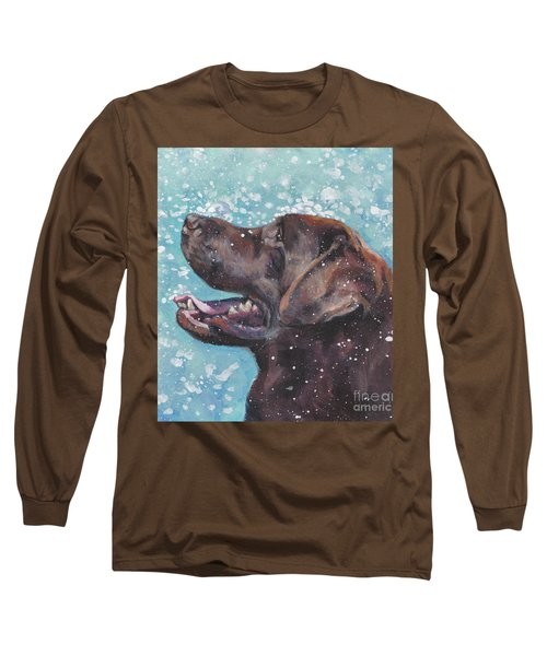 Long Sleeve T-Shirt featuring the painting Chocolate Labrador Retriever by Lee Ann Shepard