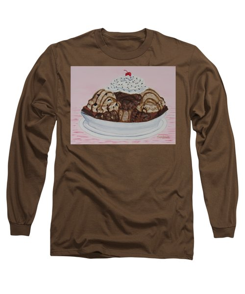 Long Sleeve T-Shirt featuring the painting Chocolatey Brownie Sundae by Nancy Nale