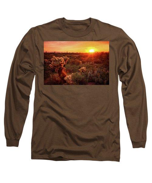 Long Sleeve T-Shirt featuring the photograph Cholla Sunset In The Sonoran  by Saija Lehtonen