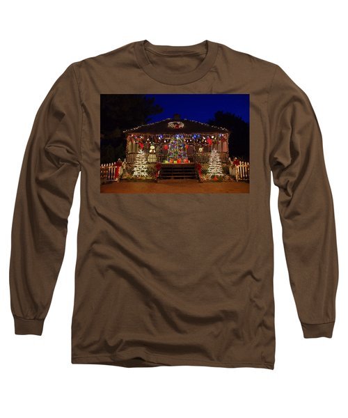 Christmas At The Lighthouse Gazebo Long Sleeve T-Shirt by Greg Graham