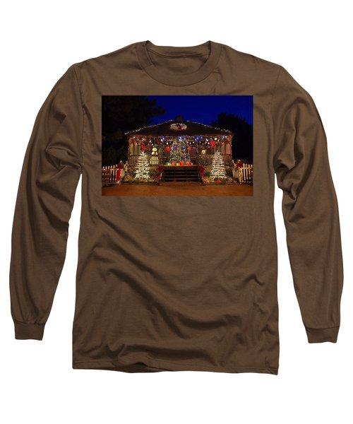 Christmas At The Lighthouse Gazebo Long Sleeve T-Shirt