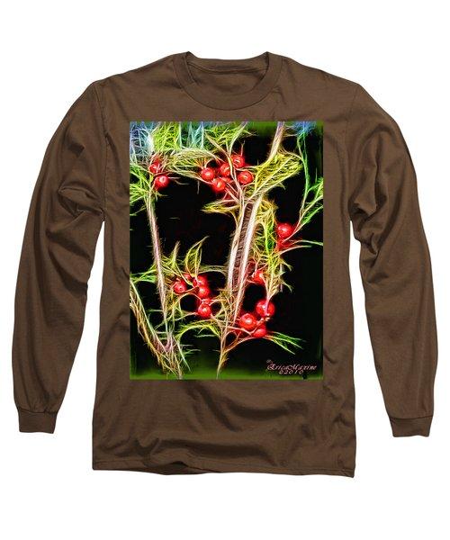 Christmas Berries Long Sleeve T-Shirt by EricaMaxine  Price