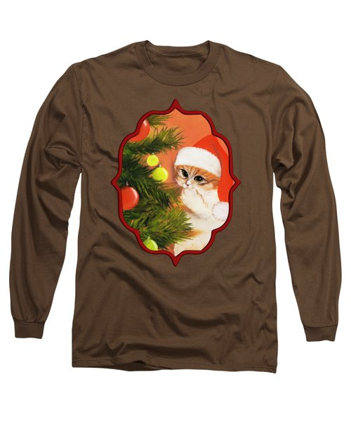 Christmas Kitty Long Sleeve T-Shirt by Anastasiya Malakhova