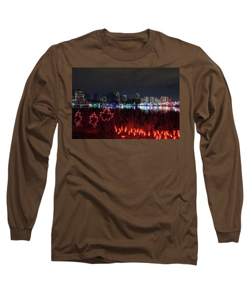 Christmas Lights At Lafarge Lake In City Of Coquitlam Long Sleeve T-Shirt