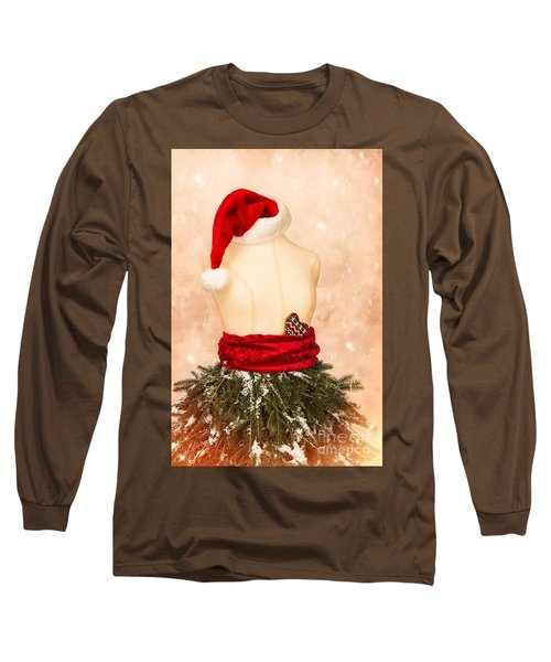 Christmas Mannequin With Santa Hat Long Sleeve T-Shirt