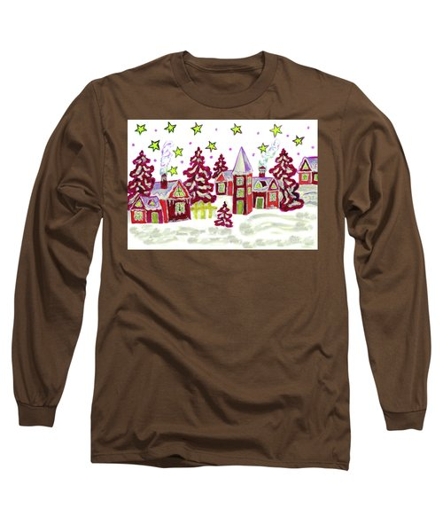 Christmas Picture In Red Long Sleeve T-Shirt by Irina Afonskaya