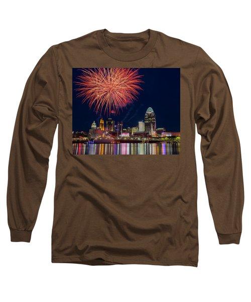 Cincinnati Fireworks Long Sleeve T-Shirt by Scott Meyer