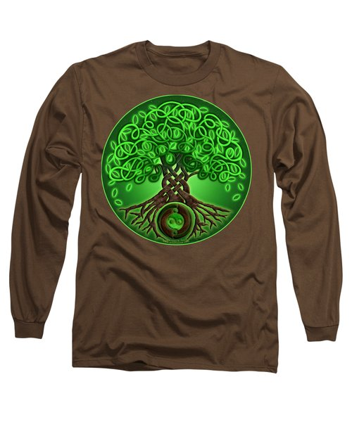 Circle Celtic Tree Of Life Long Sleeve T-Shirt by Kristen Fox
