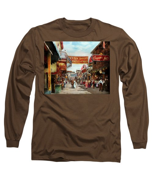 Long Sleeve T-Shirt featuring the photograph City - Coney Island Ny - Bowery Beer 1903 by Mike Savad