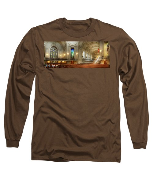 Long Sleeve T-Shirt featuring the photograph City - Naval Academy - God Is My Leader by Mike Savad