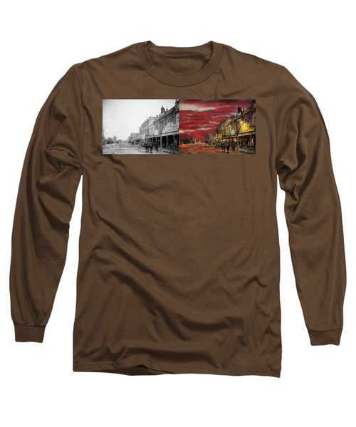 Long Sleeve T-Shirt featuring the photograph City - Palmerston North Nz - The Shopping District 1908 - Side By Side by Mike Savad