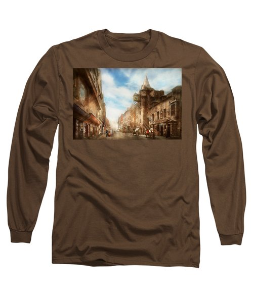 Long Sleeve T-Shirt featuring the photograph City - Scotland - Tolbooth Operator 1865 by Mike Savad