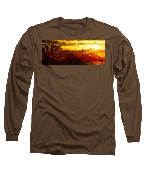 Long Sleeve T-Shirt featuring the digital art Cityscape Sunset by Andrea Barbieri