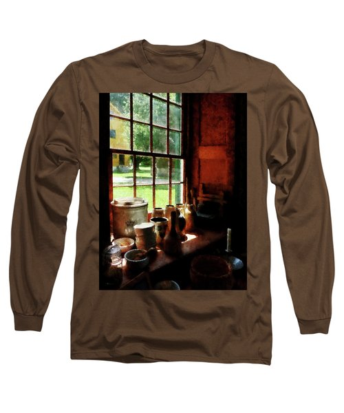 Long Sleeve T-Shirt featuring the photograph Clay Jars On Windowsill by Susan Savad