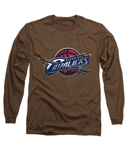Cleveland Cavaliers - 3 D Badge Over Flag Long Sleeve T-Shirt