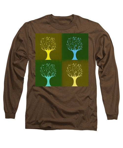 Long Sleeve T-Shirt featuring the mixed media Clip Art Trees by Dan Sproul