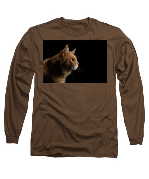 Close-up Portrait Ginger Maine Coon Cat Isolated On Black Background Long Sleeve T-Shirt