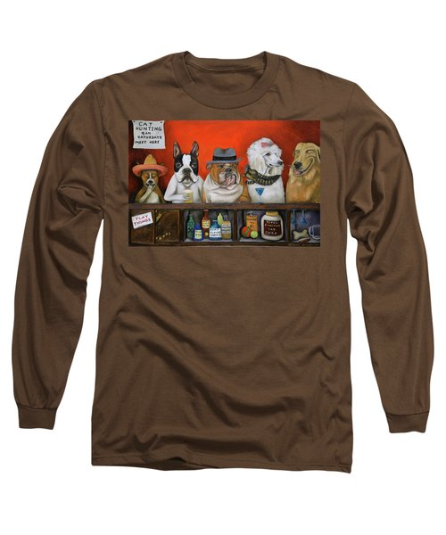 Long Sleeve T-Shirt featuring the painting Club K9 by Leah Saulnier The Painting Maniac