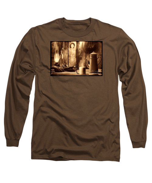 Coffee At The Cabin Long Sleeve T-Shirt by American West Legend By Olivier Le Queinec