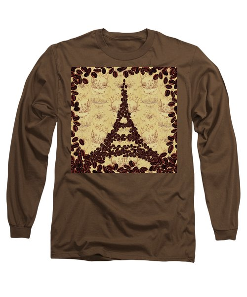 Coffee Beans Watercolor Eiffel Tower French Roast Long Sleeve T-Shirt