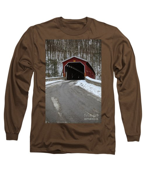 Colemansville Covered Bridge After Winter Snow Long Sleeve T-Shirt