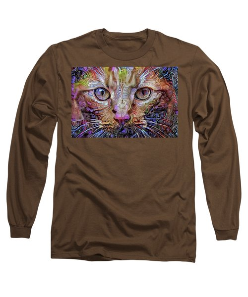 Colorful Cat Art Long Sleeve T-Shirt by Peggy Collins