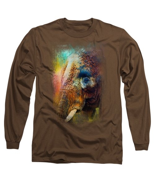 Colorful Expressions Elephant Long Sleeve T-Shirt by Jai Johnson