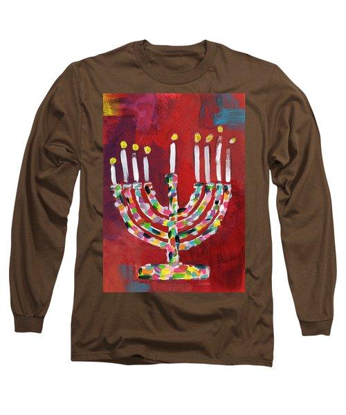 Colorful Menorah- Art By Linda Woods Long Sleeve T-Shirt