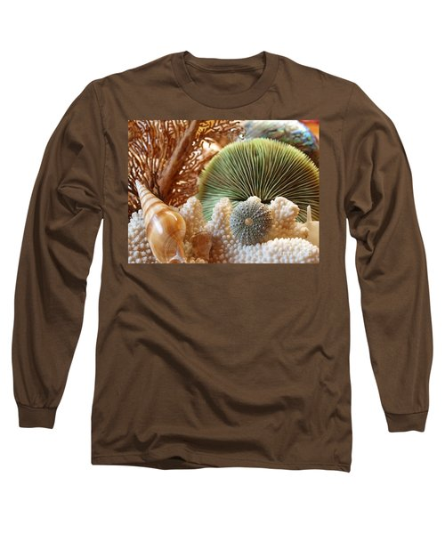Long Sleeve T-Shirt featuring the photograph Coral And Shells by Trena Mara