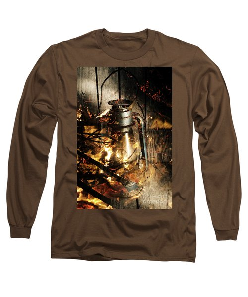 Cosy Open Fire. Cottage Artwork Long Sleeve T-Shirt