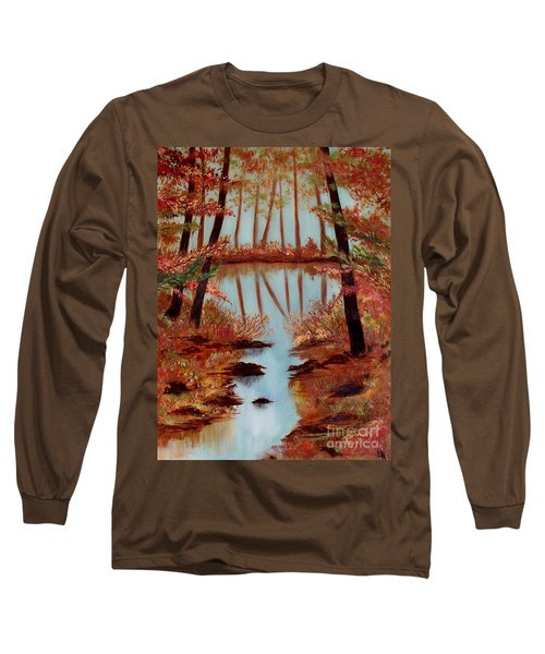 Long Sleeve T-Shirt featuring the painting Country Reflections by Leslie Allen