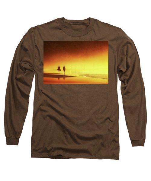 Couple Of Women Walking On Beach Long Sleeve T-Shirt
