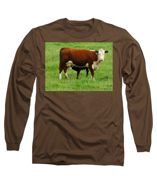 Cow With Calf Long Sleeve T-Shirt by Debra Crank