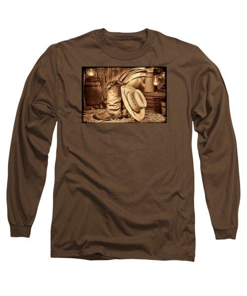 Cowboy Gear In Barn Long Sleeve T-Shirt