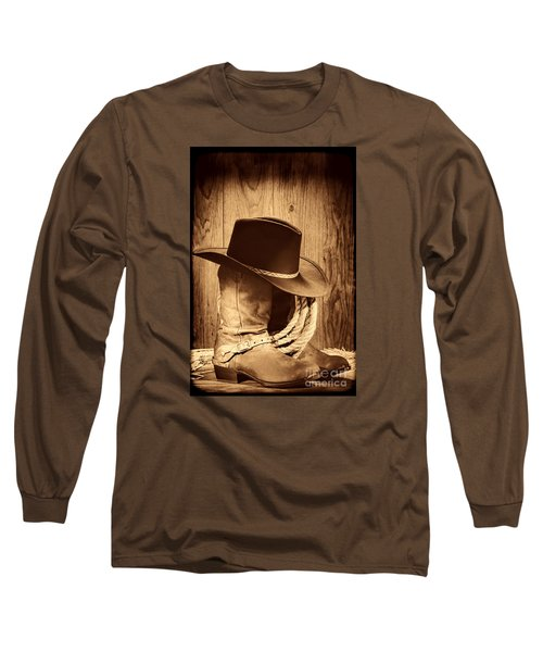Cowboy Hat On Boots Long Sleeve T-Shirt by American West Legend By Olivier Le Queinec