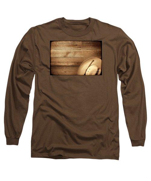 Cowboy Hat On Wood Table Long Sleeve T-Shirt