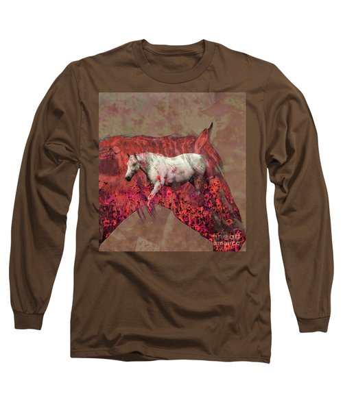 Cowgirl And Her Horses Long Sleeve T-Shirt by Toma Caul