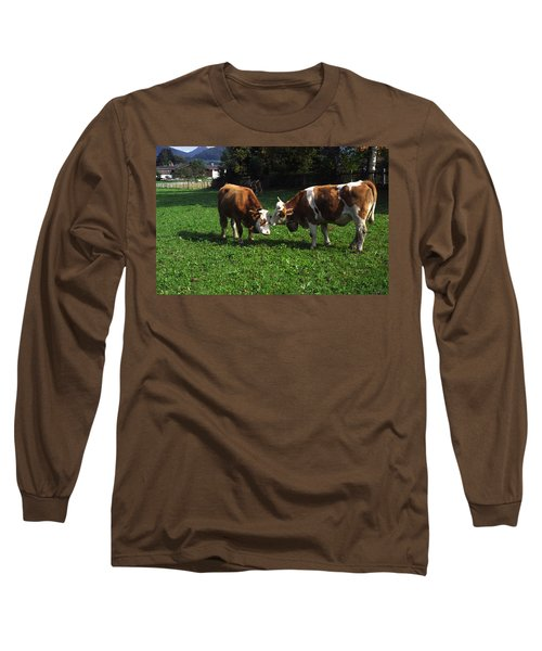Long Sleeve T-Shirt featuring the photograph Cows Nuzzling by Sally Weigand
