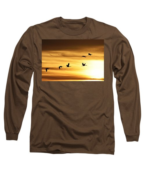 Long Sleeve T-Shirt featuring the photograph Cranes At Sunrise 2 by Larry Ricker