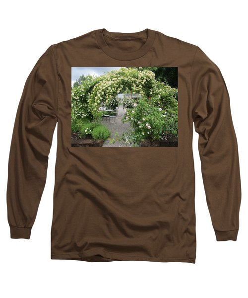 Cream-colored Roses With Your Coffee Long Sleeve T-Shirt