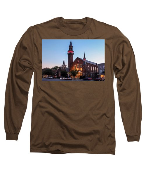 Crescent Moon Over Old Town Hall Long Sleeve T-Shirt