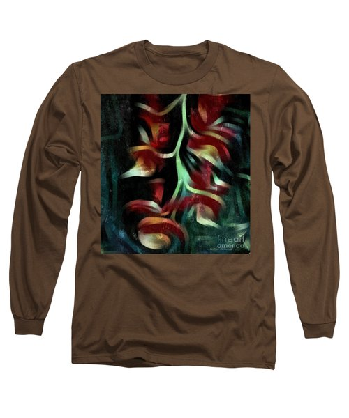 Crimson Flow Long Sleeve T-Shirt by Kathie Chicoine