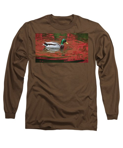 Long Sleeve T-Shirt featuring the photograph Crimson Reflections by Elvira Butler