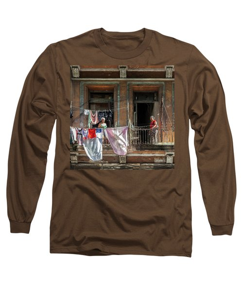 Long Sleeve T-Shirt featuring the photograph Cuban Women Hanging Laundry In Havana Cuba by Charles Harden