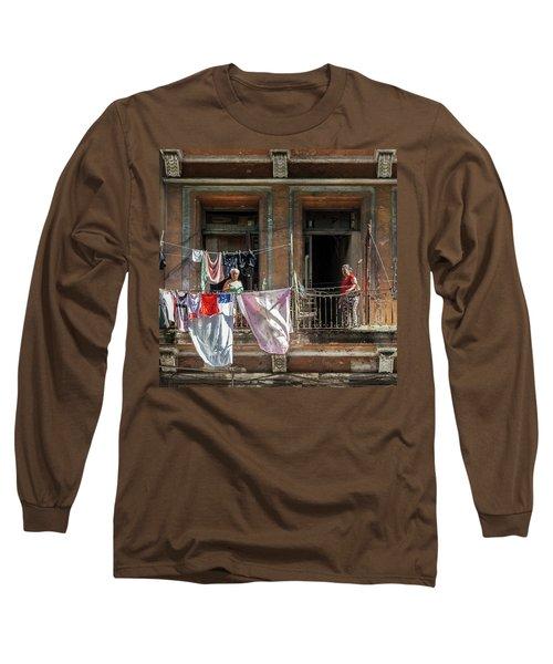Cuban Women Hanging Laundry In Havana Cuba Long Sleeve T-Shirt by Charles Harden