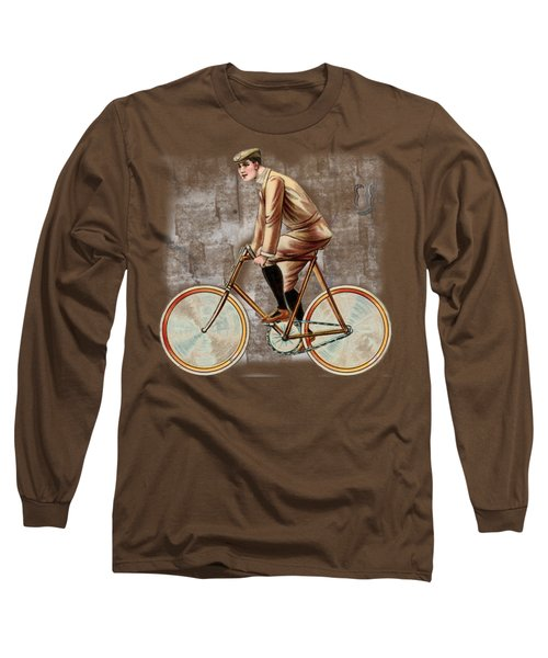 Cycling Man T Shirt Design Long Sleeve T-Shirt by Bellesouth Studio