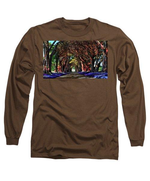 Long Sleeve T-Shirt featuring the digital art Cypress Tree Tunnel by Jason Abando