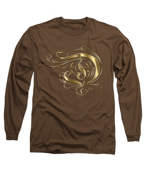 D Ornamental Letter Gold Typography Long Sleeve T-Shirt